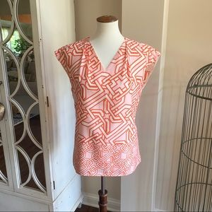 The Limited Orange and Pink Sleeveless Top